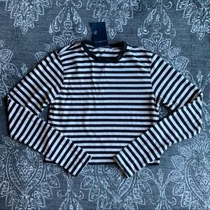 Brandy Melville Black Striped Long Sleeve Top